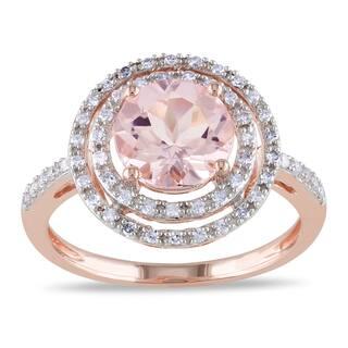 miadora 10k rose gold morganite and 14ct tdw diamond cocktail double halo ring - Morganite Wedding Rings