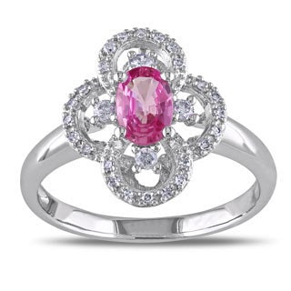 Miadora 10k White Gold Pink Sapphire 1/6ct TDW Diamond Ring (G-H, I1-I2)