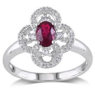Miadora 10k White Gold Ruby and 1/6ct TDW Diamond Ring (G-H, I1-I2)