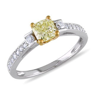 Miadora 14k White Gold 1 1/10ct TDW Fancy Yellow and White Diamond Ring (VS1-VS2)