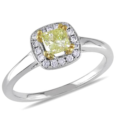 Miadora 14k White Gold 4/5ct TDW Fancy Yellow Diamond Ring