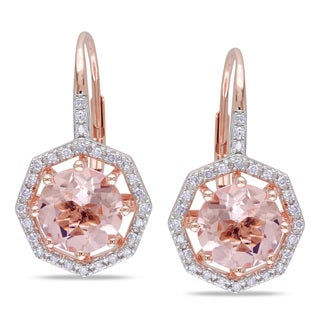 Miadora 10k Rose Gold Morganite and 1/5ct TDW Diamond Earrings (H-I, I2-I3)