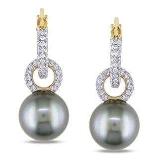 Miadora Signature Collection 14k Yellow Gold 1ct TDW Diamond and Tahitian Pearl Earrings (G-H, I1-I2)