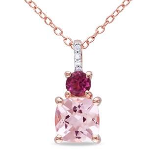 Miadora Rose Plated Silver Morganite, Pink Tourmaline and Diamond Necklace