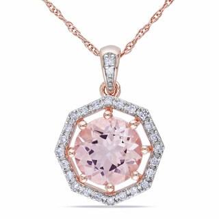 Miadora 10k Rose Gold Morganite and 1/10ct TDW Diamond Necklace (H-I, I2-I3)