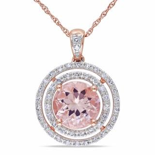 Miadora 10k Rose Gold 1/5ct TDW Diamond and Morganite Necklace (H-I, I2-I3)
