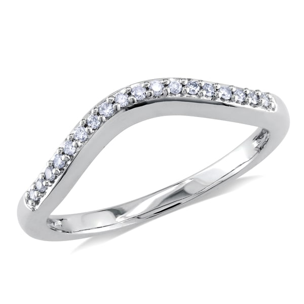 Miadora 14k White Gold 1/10ct TDW Diamond Curved Anniversary-style Stackable Wedding Band Ring