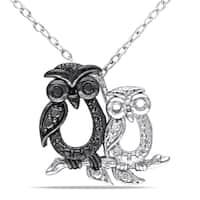 Miadora Sterling Silver Black Diamond Owl Necklace