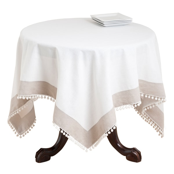 Petite Pompom Tablecloth Topper With Border