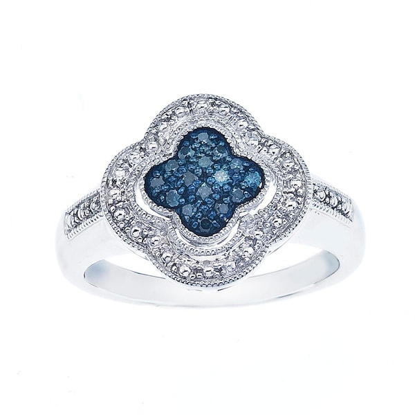 Sterling Silver 1/8ct TDW Blue Diamond Fashion Ring By Ever One