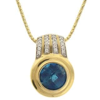 Beverly Hills Charm 14k Gold Blue Topaz and 1/8ct TDW Diamond Necklace (H-I, I1-I2)