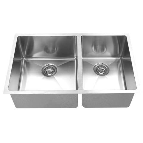 BOANN Handmade Double Bowl Undermount 304 Square Rectangle Steel Kitchen Sink
