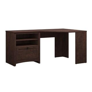 Bush Furniture Buena Vista 60W Corner Desk with Storage in Madison Cherry