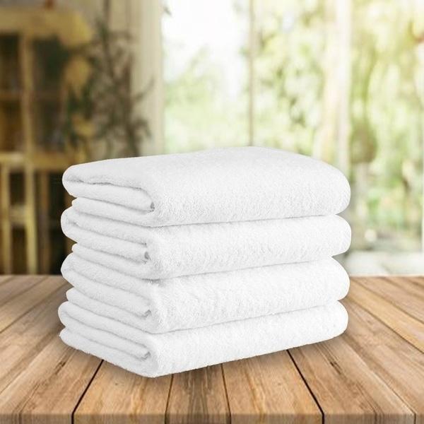 "Classic Turkish Cotton Soft 600 GSM White Luxury Bath Towel Set of 4 - 27"" x 54"""