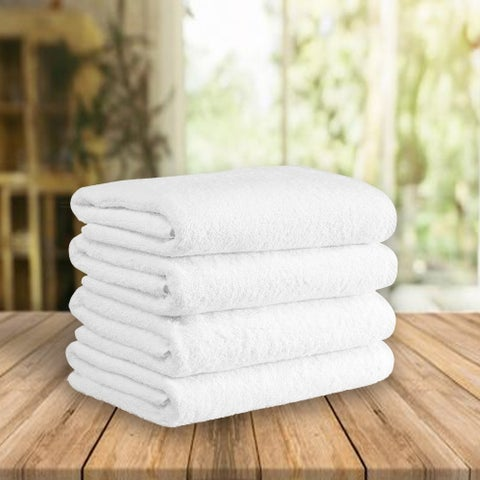 "Classic Turkish Cotton Soft 600 GSM White Luxury Bath Towel Set of 4 - 27"" x 54"""