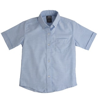 French Toast Boys' Blue Short-Sleeve Oxford Shirt
