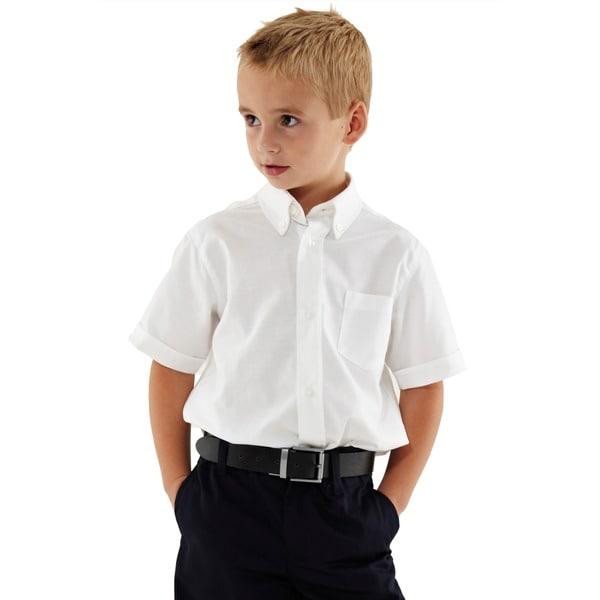 French Toast Boys' White Short-Sleeve Oxford Shirt