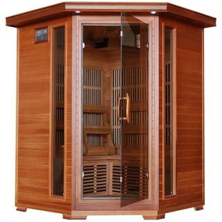 Radiant 3-Person Cedar Corner Carbon Infrared Sauna - Brown