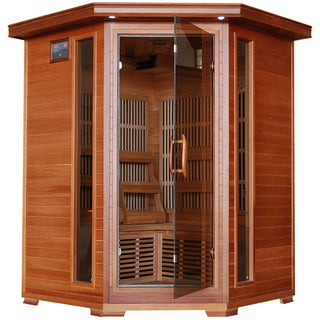Radiant 3-Person Cedar Corner Carbon Infrared Sauna - Brown