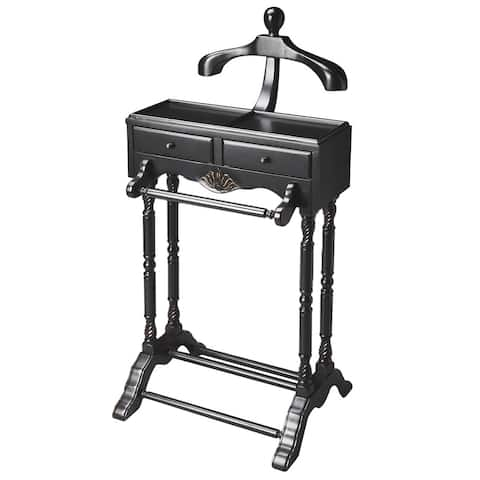 "Butler Traditional Wooden Valet in Black Licorice Finish, 22""W x 17.5""D x 46.25""H"