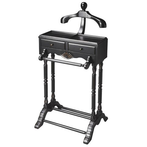 """Butler Traditional Wooden Valet in Black Licorice Finish, 22""""W x 17.5""""D x 46.25""""H - N/A"""