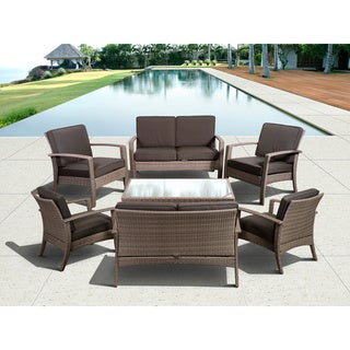 Atlantic Mykonos Deluxe 8-piece Synthetic Wicker Grey Conversation Set with Grey Cushions