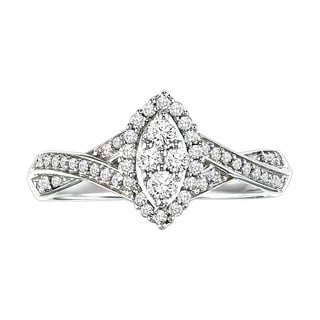 Cambridge Sterling Silver 3/8 TDW Marquise Diamond Ring