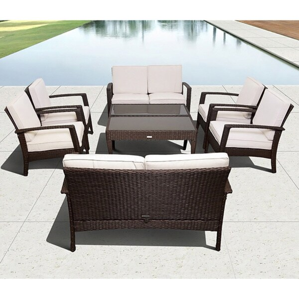 Atlantic Mykonos Brown Deluxe Conversation 8-piece Patio Set - Shop Atlantic Mykonos Brown Deluxe Conversation 8-piece Patio Set