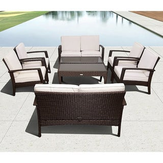 Atlantic Mykonos Brown Deluxe Conversation 8 Piece Patio Set