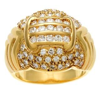 18k Yellow Gold Vintage Antique Diamond Chevron Style Ring (H-I, SI1-SI2)