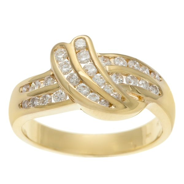 18k Yellow Gold Vintage Round Cut Swirl Dove Wing Diamond Ring