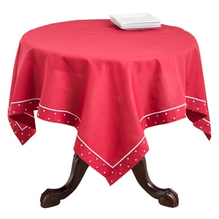 Red Swiss Dot Linen Blend Bordered Table Topper or Runner