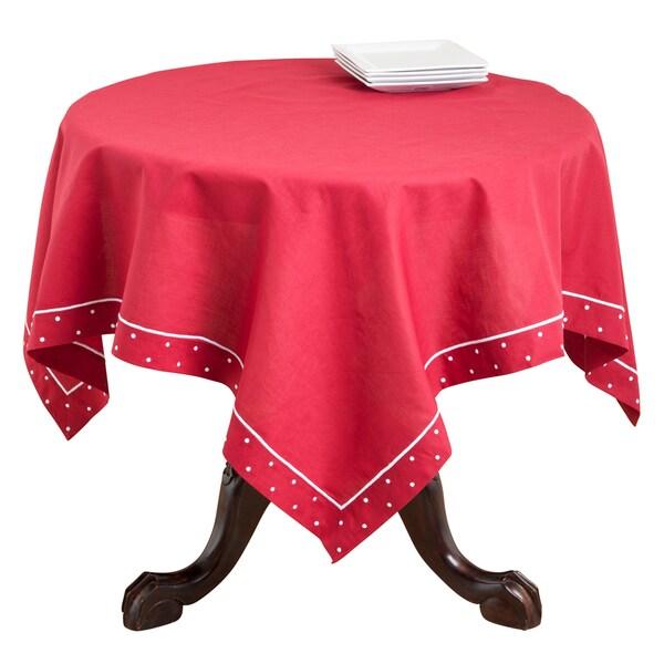 Red Swiss Dot Linen Blend Bordered Table Topper or Runner