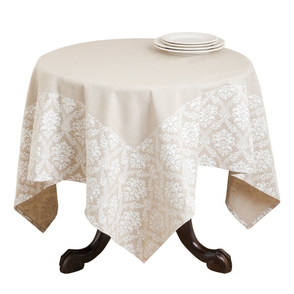 Damask Border Print Cotton Table Topper