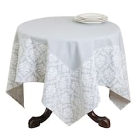 Damask Border Print Cotton Table Topper
