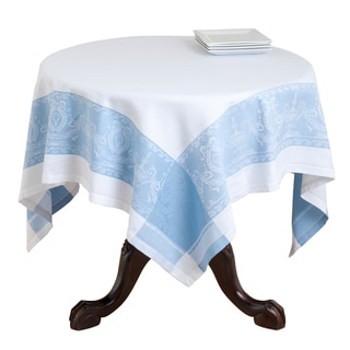 Blue and Taupe Jacquard Cotton Table Topper