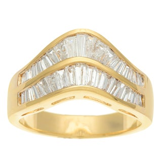 Kabella Luxe 18k Yellow gold Vintage Baguette Cut Wave Diamond Ring SIze 6.5