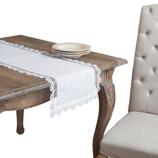 'Giselle' White Cluny Lace Table Runner