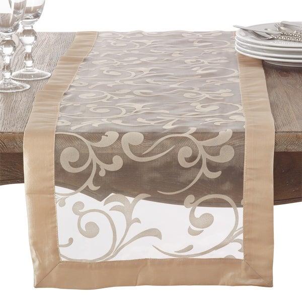 Flocked French Scroll Table Runner
