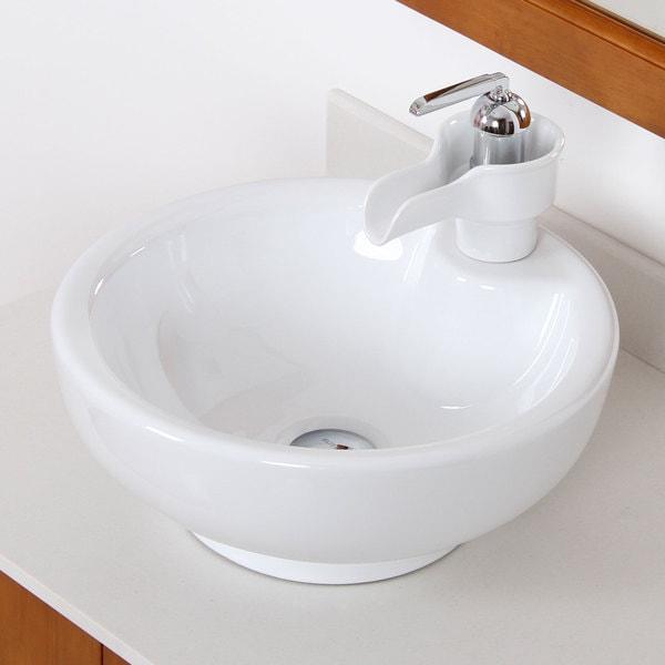 Elite 4074A46C High Temperature Grade A Ceramic Bathroom Sink With Unique Round Design and Chrome Finish Faucet Combo