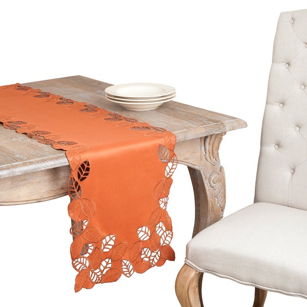 Terracotta Leaf Embroidered Cutwork Table Topper or Runner