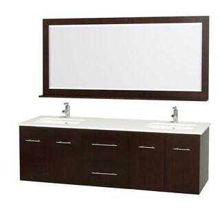Wyndham Collection 'Centra' Espresso 72-inch Double Bathroom Vanity and Mirror Set
