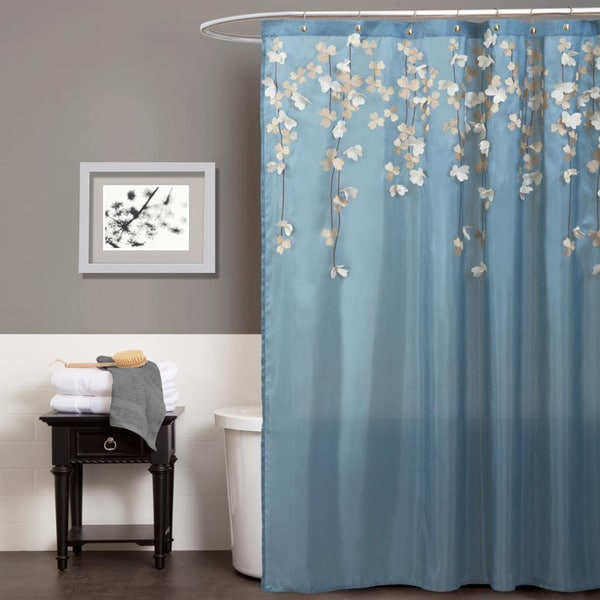 Lush decor flower drops federal blue white shower curtain for Blue and silver bathroom accessories