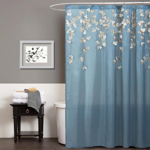 Lush decor flower drops federal blue white shower curtain for Blue and silver bathroom sets