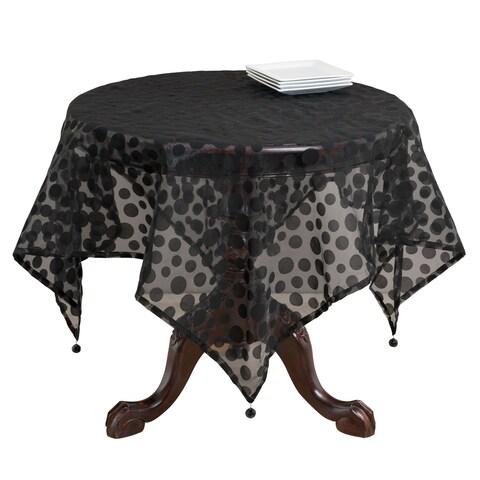 Flocked Dot Design Organza Table Topper