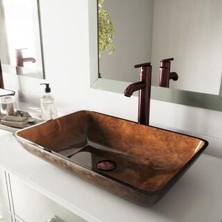 VIGO Rectangular Russet Glass Vessel Sink and Seville Faucet Set in Oil Rubbed Bronze