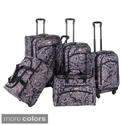 American Flyer Paisley 5-piece Spinner Luggage Set