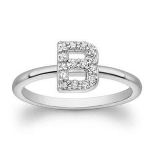 Victoria Kay Sterling Silver 1/10ct TDW Diamond Initial Ring