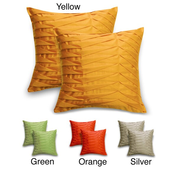 'Sofia' Solid Pleated Throw Pillows (Set of 2)