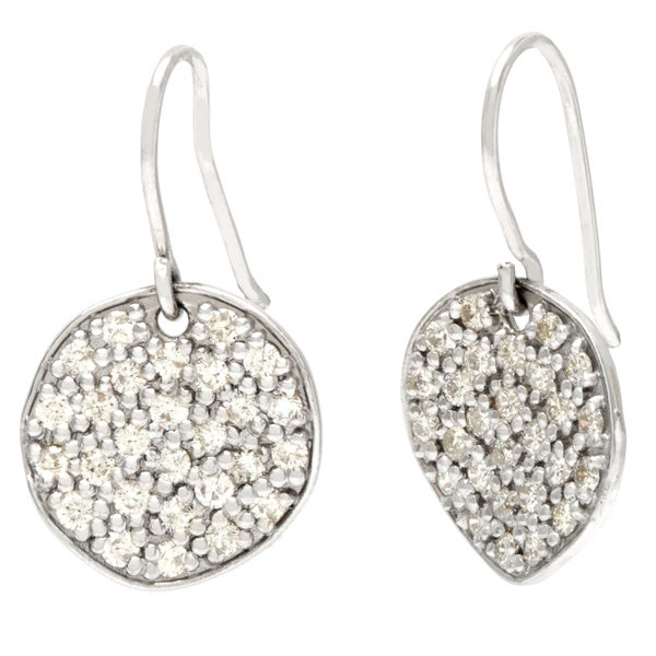 14k Gold 1ct TDW Diamond Pave Circle Drop Earrings